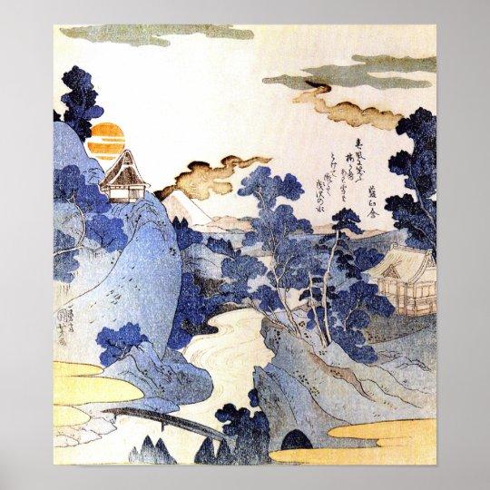 Vintage Blue Japan Woodblock Art Ukiyo-E Poster
