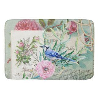 Vintage Blue Jay Bird Pink Rose Floral Collage Bath Mat