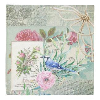 Vintage Blue Jay Bird Pink Rose Floral Collage Duvet Cover
