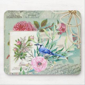 Vintage Blue Jay Bird Pink Rose Floral Collage Mouse Pad