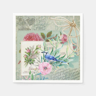 Vintage Blue Jay Bird Pink Rose Floral Collage Paper Napkin