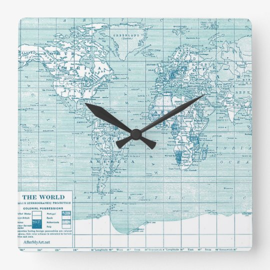 vintage blue map clock