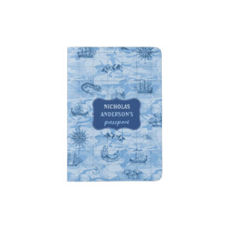 Vintage Blue Map Look Sea Monsters Ships | Custom Passport Holder
