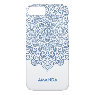 Vintage blue metallic Intricate Lace Mandala white iPhone 8/7 Case