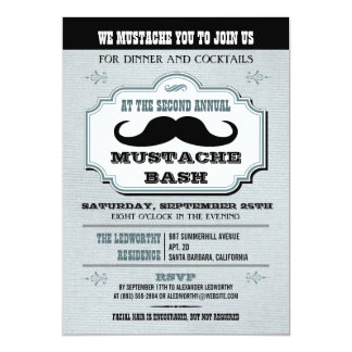 Vintage Blue Mustache Bash Card