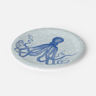 Vintage Blue Octopus with Anchors Paper Plate
