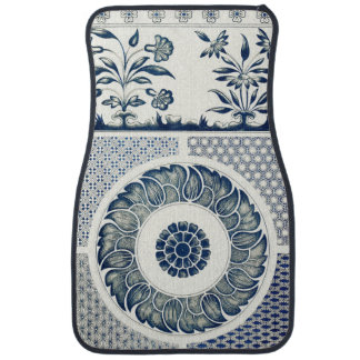 Vintage Blue Oriental Decor FloralPattern Car Mat