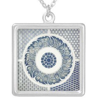 Vintage Blue Oriental Decor FloralPattern Silver Plated Necklace