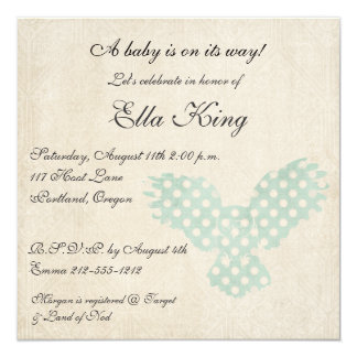 Vintage Blue Owl Silhouette Baby Invitation