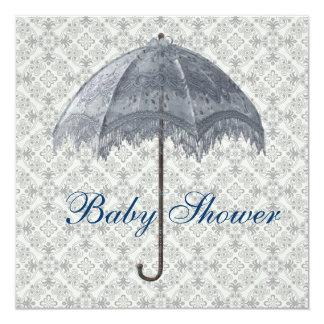 """Vintage Blue Parasol Damask Baby Boy Shower 5.25"""" Square Invitation Card"""