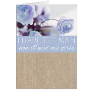 Vintage Blue Peony Burlap Bridesmaid Request Card