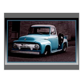 Vintage Blue Pickup Truck Postcard