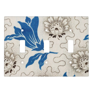 Vintage Blue Printed Flower and Stipple Pattern Light Switch Cover