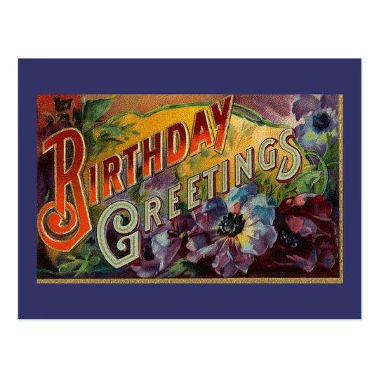 Vintage Blue Purple Floral Birthday-Postcard Postcard