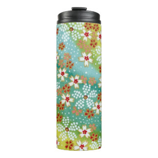 Vintage Blue Red Japanese Origami Flower Pattern Thermal Tumbler
