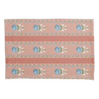 Vintage Blue Rose Coral Dots Wallpaper Pattern Pillowcase