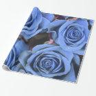 Vintage Blue Rose Floral Gift Wrap