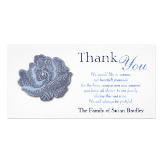 Vintage Blue Rose  Sympathy Thank You Photo Card