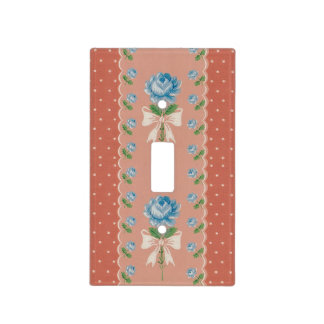 Vintage Blue Roses Coral Dots Wallpaper Pattern Light Switch Cover