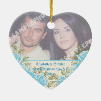 Vintage blue roses Couple's first Christmas photo Ceramic Heart Ornament