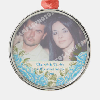 Vintage blue roses Couple's first Christmas photo Silver-Colored Round Ornament