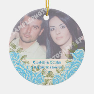 Vintage blue roses Couple's first Christmas photo Round Ceramic Ornament