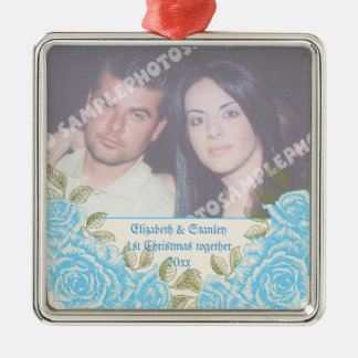 Vintage blue roses Couple's first Christmas photo Silver-Colored Square Ornament