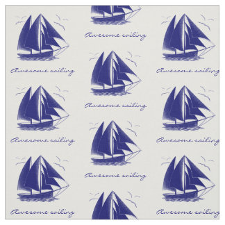 Vintage blue sailboat nautical personalized fabric
