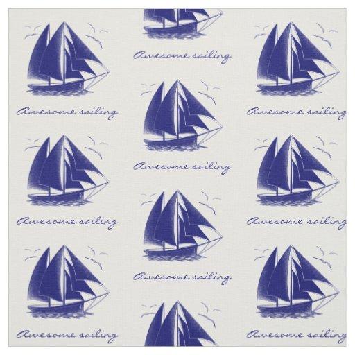 Vintage blue sailboat nautical personalized fabric