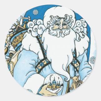 Vintage Blue Santa Sticker
