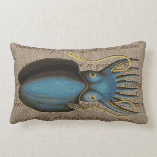 Vintage Blue Squid Sea Creature Nautical Burlap Lumbar Pillow