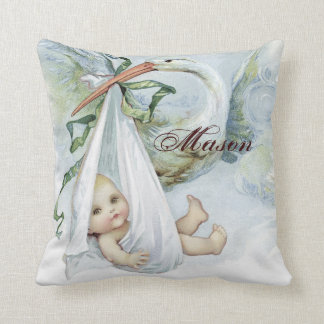 Vintage Blue Stork Baby Boy Nursery Pillows
