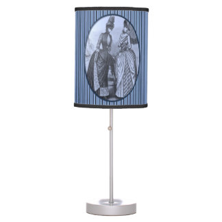 vintage blue stripped womens lamp shade