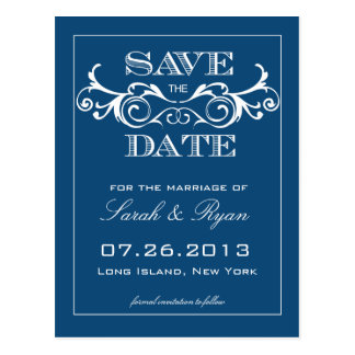 Vintage Blue Swirl Save the Date Announcement Postcard