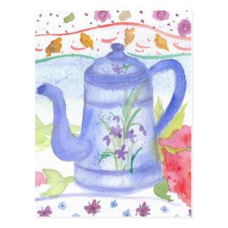 Vintage Blue Tea Coffee Pot Watercolor Flowers Postcard