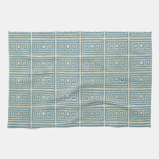Vintage Blue Tile  Greek Meander Pattern Kitchen Towel