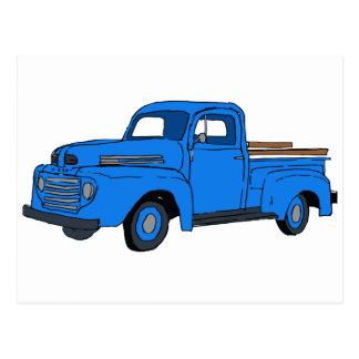 Vintage Blue Truck Postcard