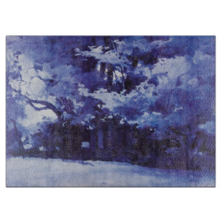 Vintage Blue Watercolor Forest Cutting Board