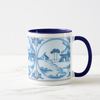 Vintage Blue White Delft Windmill Coffee Mug