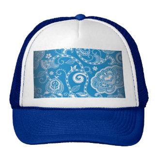 Vintage Blue White Floral Damask Pattern Mesh Hat