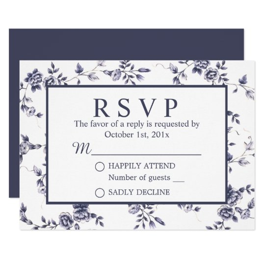 Vintage Blue & White Floral Wedding RSVP Card