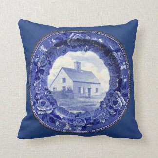 Vintage Blue & White Nantucket Oldest Plate Pillow