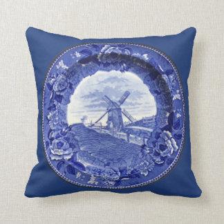 Vintage Blue & White Nantucket Windmill  Pillow
