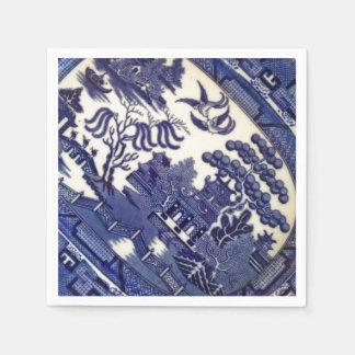 Vintage Blue Willow China Plate Pattern Tile Dish Paper Napkin