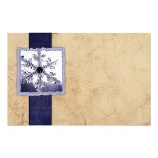 Vintage Blue Winter Snowflake Customized Stationery