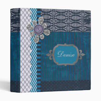 Vintage Blue with Sequins  Frame 3 Ring Binder