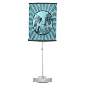 vintage blue women stripped lamp shade