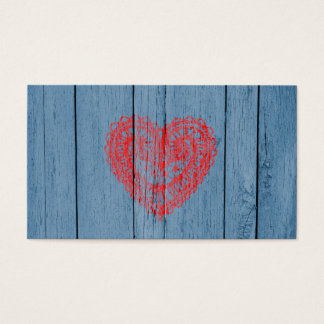 Vintage Blue Wood And Red Lace Heart Business Card