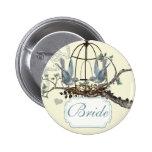 Vintage Bluebird Love Birds Wedding Badges
