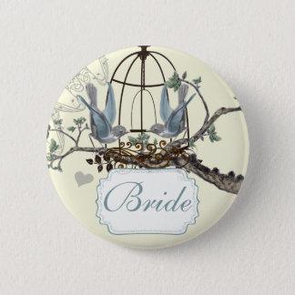 Vintage Bluebird Love Birds Wedding Badges 2 Inch Round Button